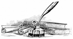 Image depicting a quill in an inkwell in the foreground with a scroll of paper to the left and a stack of books to the right.