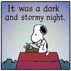 Snoopy seated at a typewriter