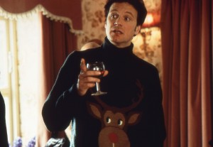 Photo of Colin Firth as Mark Darcy wearing his reindeer jumper in Bridget Jones's Diary