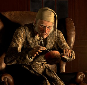Image of Ebenezer Scrooge in 2009 Disney's a Christmas Carol